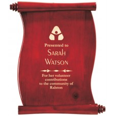 Rosewood Piano Finish Scroll Plaque (Vertical)